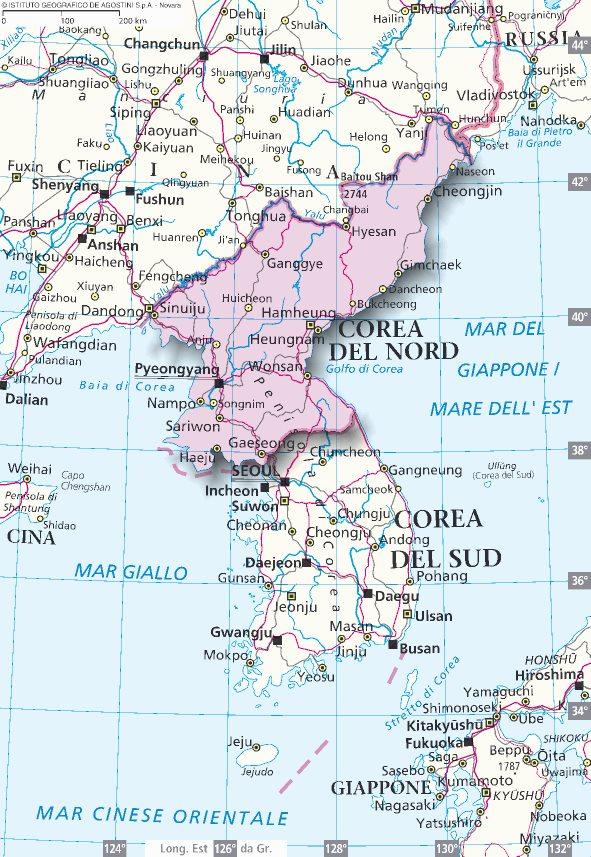Cartina Nord.Mappa Corea Del Nord Cartina Della Corea Del Nord