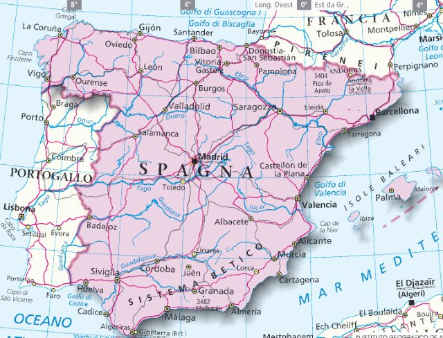 Cartina Mappa Spagna.Mappa Spagna Cartina Della Spagna