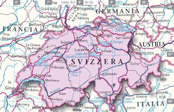 La Svizzera Cartina.Mappa Svizzera Cartina Della Svizzera
