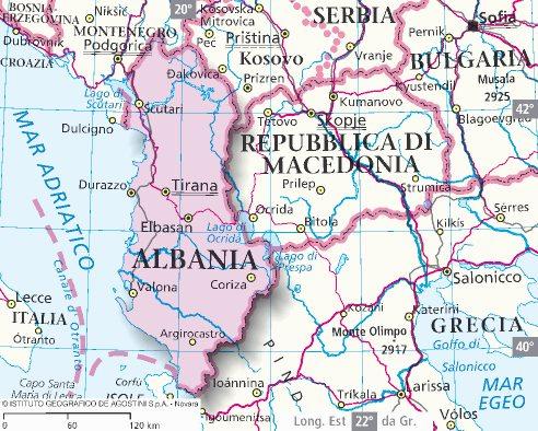 Cartina Di Albania.Mappa Albania Cartina Dell Albania