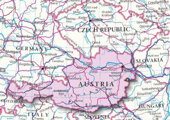 Cartina Austria Vienna.Mappa Austria Cartina Dell Austria