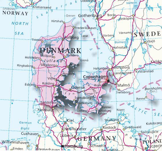 Cartina Della Danimarca.Mappa Danimarca Cartina Della Danimarca