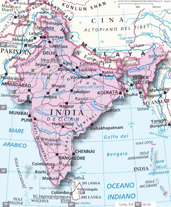 Cartina India.Mappa India Cartina Dell India