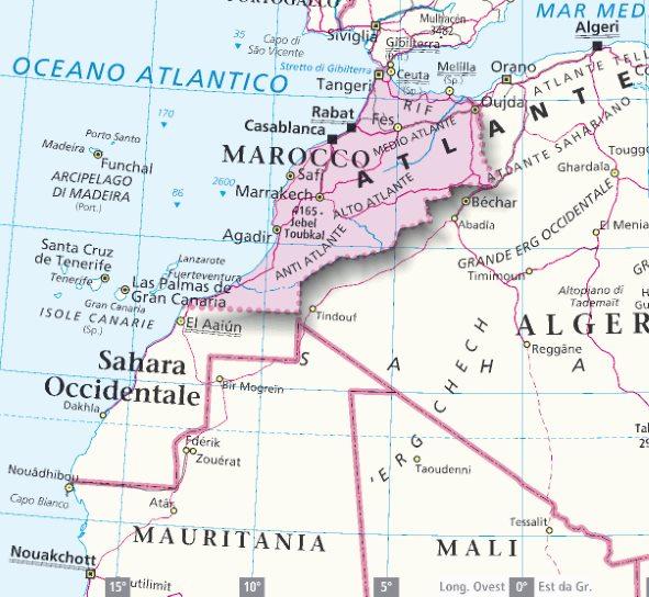 Cartina Marocco Da Colorare.Mappa Marocco Cartina Del Marocco