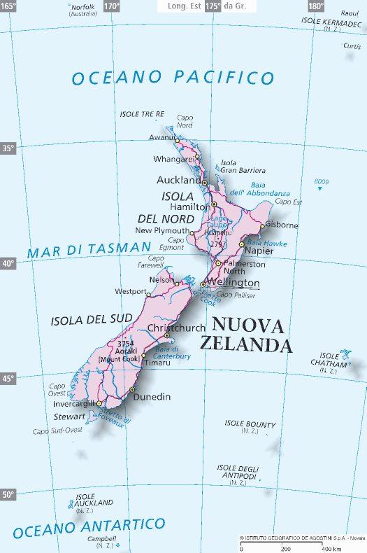 Cartina Nuova Zelanda.Mappa Nuova Zelanda Cartina Della Nuova Zelanda