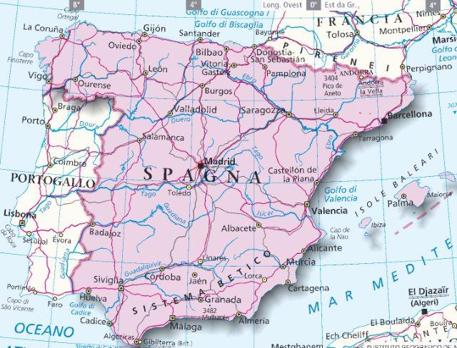 Cartina Spagna.Mappa Spagna Cartina Della Spagna