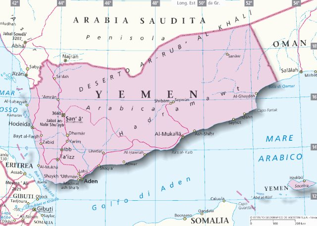 Cartina Yemen.Mappa Yemen Cartina Dello Yemen